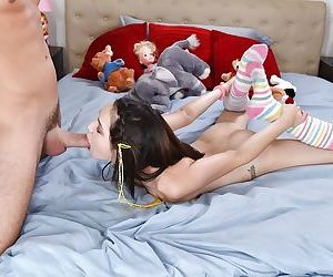 Brunette teen Cadey Mercury grabs hold of her ankles during face fucking