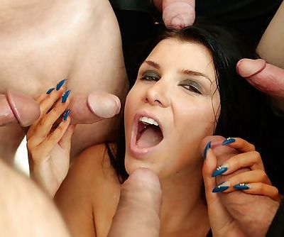 American pornstar Romi Rain getting covered in facial jizz during blowbang - part 2