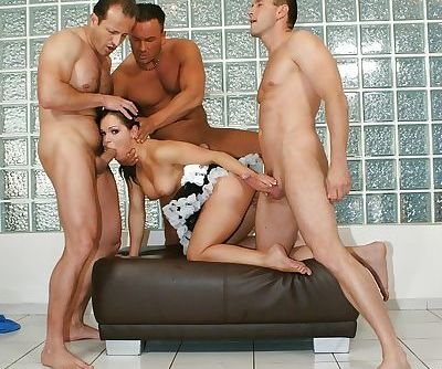 Euro pornstar Jeny Baby banging 3 guys with maid uniform around waist - part 2