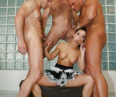 Euro pornstar Jeny Baby banging 3 guys with maid uniform around waist