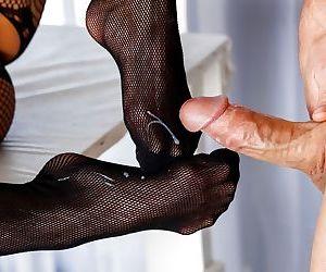 Asian Mia Li in pantyhose gives gloryhole BJ & footjob in reality CFNM sex - part 2