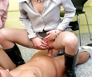 Office bitches seduce a horny customer and play a CFNM action swallowing cum - part 2