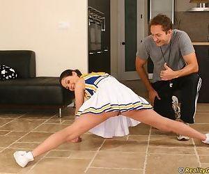 Slutty cheerleader Rikki Reverence seduces the brush compressed and gets fucked changeless
