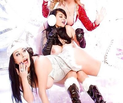 Busty lesbians go topless in boots for sexy Christmas photo shoot - part 2