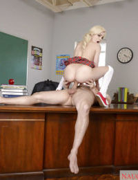 Teen pornstar Elsa Jean fucked in classroom by teacher in schoolgirl outfit - part 2