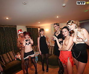 Lusty coeds in stockings get fucked hardcore at the christmas party
