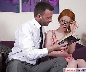 Glasses topped redhead coed Ella Hughes interesting facial cumshot