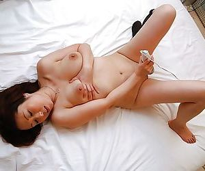 Asian demoiselle Eiko Kawai gets trimmed pussy vibed- cocked up plus creampied - part 2