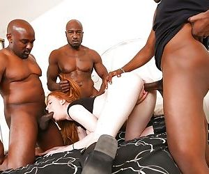 Kierra Wilde enjoys an Interracial gangbang with three black dudes
