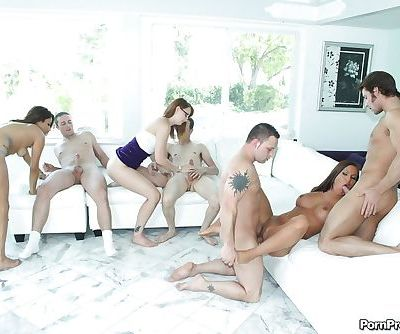 Angelika Heart is taking part in a wild groupsex close up action