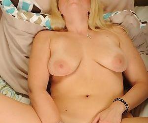 Older blonde chick Zoey Monroe spreading shaved vagina for masturbation - part 2