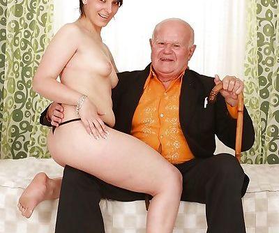 Lascivious brunette babe sucks and fucks an oldmans cock