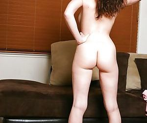 Sexy young brunette with big boobs tames her shaved fuck hole - part 2