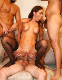 Mature slut with big tits Anita Lay enjoys gangbang in stockings - part 2