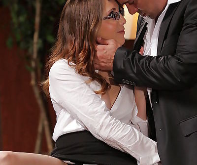 Office fuck with a sexy pornstar in glasses Nickey Huntsman