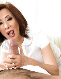 Asian gran Kim Anh hefty hot plugola knead in front riding load of shit cowgirl show off
