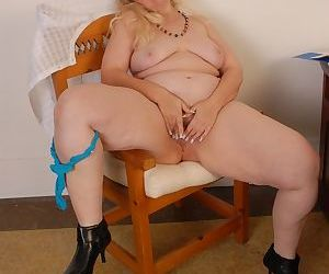 Awesome bleached Anne is masturbating her vagina in front webcam - part 2