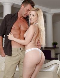 European teen Nesty pleases her muscular lover with a blowjob