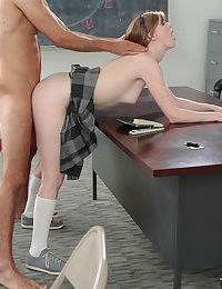 Young schoolgirl Dolly Leigh fucking her teacher wearing white knee socks - part 2