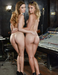 Teen girls undress each other in recording studio to display tight asses - part 2