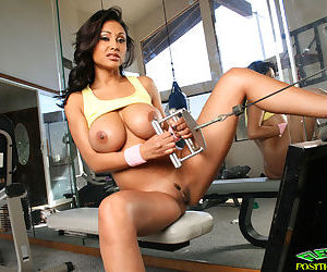 Indian MILF babe Priya Rai strips in the gym horny for fucking - part 2