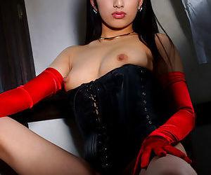 Pretty asian babe Ran Asakawa showing off her small titties - part 2