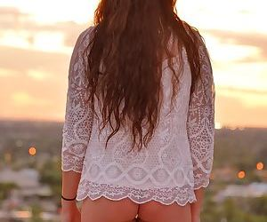 Young cutie flashes pierced nipples and and nice teen ass in public - part 2