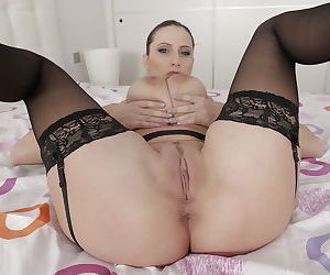 Buxom French Maid Sensual Jane spreading shaved MILF pussy for masturbation - part 2