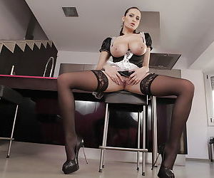 Buxom French Maid Sensual Jane spreading shaved MILF pussy for masturbation