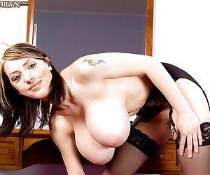 Buxom European solo girl Merilyn Sakova masturbating shaved MILF vagina - part 2