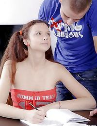 European teen Peachy with fancy pigtails gets her little mouth fucked rough