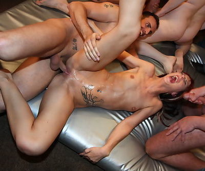 Skinny Euro chick Gina Bang and friend fuck all the guys in gangbang - part 2