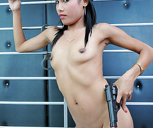 Amateur Asian Policewoman Rose strips off her police uniform - part 2