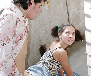 Lusty teenage cutie gives a blowjob and gets pumped in a public place - part 2