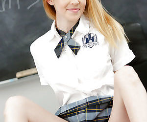Alexia Gold shows off her teen pussy while in school uniform