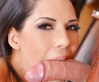 Hot brunette secretary Alexa Tomas sucking gloryhole cock at work