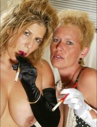 Blonde MILF lady really enjoys a smoke right before having sex with her dyke partner and one hung male hunk.
