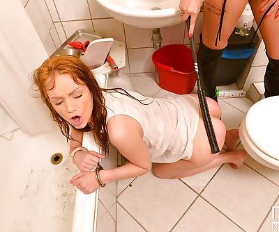 Redheads Aylin Diamond and Sophie Lynx engage in BDSM sex in bathroom - part 2