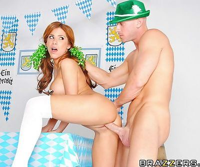 Voluptuous redhead teen takes a big cock in her mouth and shaved cunt - part 2