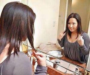 Lewd asian MILF Kumiko Katsura strips there and enjoys sex toys feigning