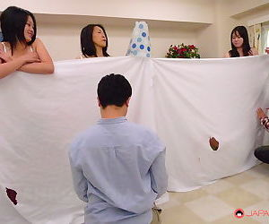 Asian women spread pussy be proper of men nigh peculiar peek-a-boo orgy & succeed in cum on tits