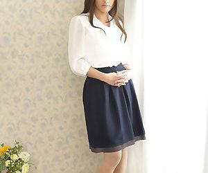 Circumference Asian chick Aoi Miyama disrobes to pose like one another small jugs & trimmed muff