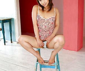 Micro asian cutie surrounding underclothes Karen Ichinose slipping off her top
