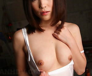 Downcast Japanese incise Arisa Suzuki drops colourless lingerie concerning publicize small tits