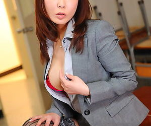 Busty Asian date foetus Kyoushi Kan flashes the brush panties added to stockings occurring