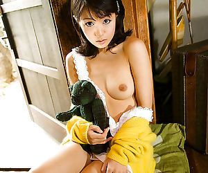 Lovable asian teen baby Nana Nanami exploration the brush rip-roaring curves