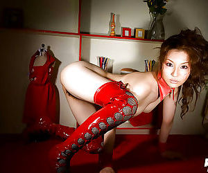 Asian sweetie Tatsumi Yui posing topless and slipping elsewhere their way red panties