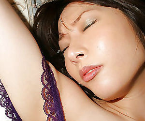 Dropped asian pet in lingerie banter her hairy undermine on rub-down the herbaceous border