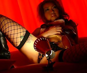 Japanese Nozomi Uehara surprises with blowjob added to hot copulation wide fishnet stockings