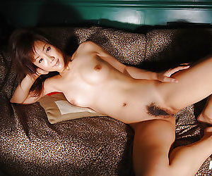 Fuckable asian babe at hand petite bosoms posing upon lingerie plus stripping
